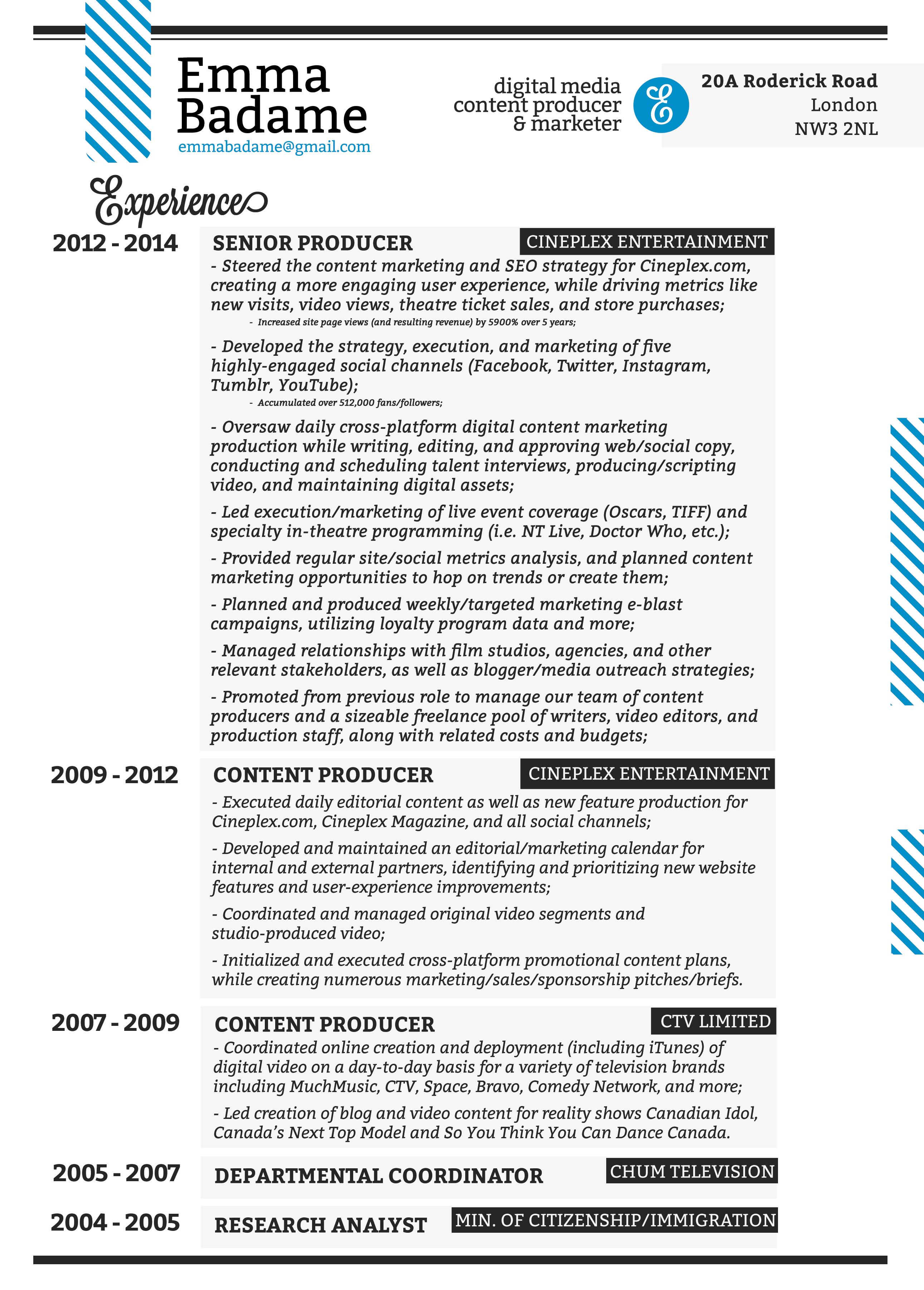 Resume | Emma Badame